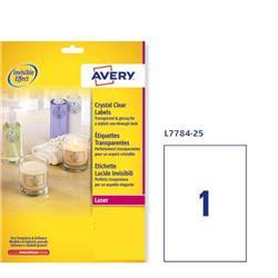 Etichette lucide invisibili Avery - 210x297mm - 190 g/mq - 1 etichetta/ff - 25 fogli