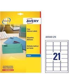 Etichette adesive Avery - trasparenti - QuickPEEL - 63,5x38,1 mm - 21 etichette/ff - 25 fogli