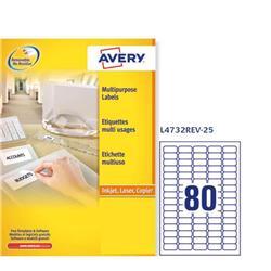 Etichette adesive Avery removibili - 35,6x16,9 mm - 80 etichette/ff - 25 fogli