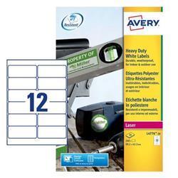 Etichette adesive Avery - permanenti - poliestere - bianco - 99,1x42,3 mm - L4776-20 - 12 etichette/ff - 20 fogli - conf. 240 etichette