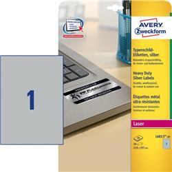 Etichette adesive Avery - permanenti - poliestere - argento - 210x297 mm - L6013-20 - 1 etichetta/ff - 20 fogli - conf. 20 etichette