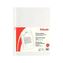 Buste a foratura universale Standard Esselte - A4 - 21x29,7 cm - goffrata - spessore leggero - trasparente - conf. 25