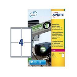 Etichette adesive Avery - permanenti - poliestere - bianco - 99,1x139 mm - L4774-20 - 4 etichette/ff - 20 fogli - conf. 80 etichette