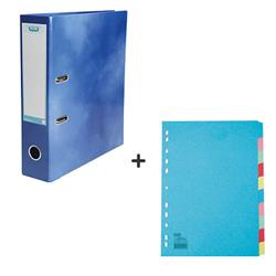 Elba Lever Arch File Laminated Gloss Finish 70mm Capacity A4+ Blue Ref 400021003 - FREE A4 Dividers