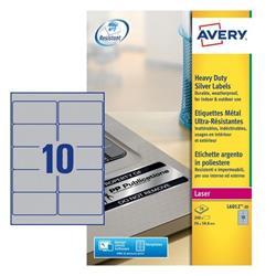 Etichette adesive Avery - permanenti - poliestere - argento - 96x50,8 mm - L6012-20 - 10 etichette/ff - 20 fogli - conf. 200 etichette
