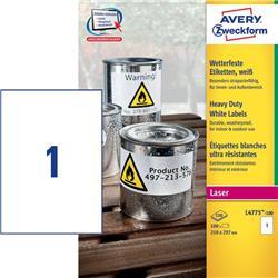Etichette adesive Avery - permanenti - poliestere - bianco - 210x297 mm - L4775-100 - 1 etichetta/ff - 100 fogli - conf. 100 etichette