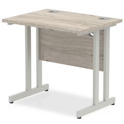 Impulse 1000 x 800mm Straight Desk Grey Oak Top Silver Cantilever Leg