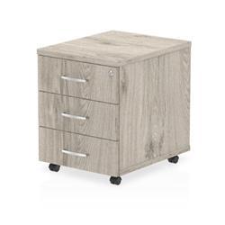 Impulse 3 Drawer Mobile Pedestal Grey Oak
