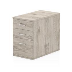 Impulse 800mm Deep Desk High Pedestal Grey Oak