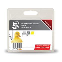 5 Star Office Remanufactured Inkjet Cartridge [Canon CLI-551 XL Alternative] Yellow