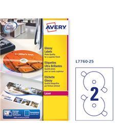Etichette full-face per CD/DVD Avery - laser - bianco lucido - 2 etichette/ff - 25 fogli