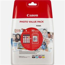 Canon CLI-581 Inkjet Cartridges 259pp and Photo Paper 750pp Value Pack B/C/M/Y Ref 2106C005 [Pack 5]