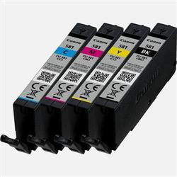Canon CLI-581 Inkjet Cartridge Black Cyan Yellow Magenta [Pack 4] Ref 2103C004
