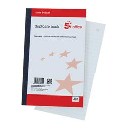 5 Star Office Duplicate Book 100 Sets Ruled Indexed Perforated 210x130mm