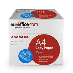 Euroffice A4 Paper Ream-Wrapped 80gsm White Box 5 x 500 Sheets