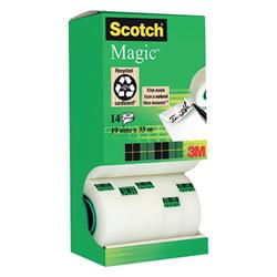 Value Pack Nastro adesivo Scotch® Magic™ 810 - 19 mm x 33 m - trasparente - opaco - conf. 12+2 GRATIS