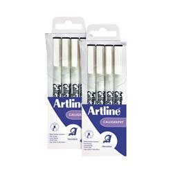 Artline Calligraphy Pen Set Assorted Width Black (4 Pack) 2For1