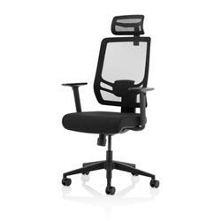 Ergo Twist Black Fabric Seat Mesh Back with Headrest Ref KC0298