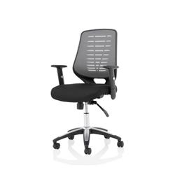 Relay Task Operator Chair Airmesh Seat Silver Back With Height Adjustable Arms Ref KC0286