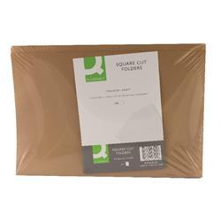 Q-Connect Square Cut Folder 170gsm Kraftliner Foolscap Buff (Pk 100) Ref KF23025