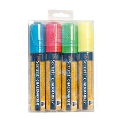 Pennarelli A Gesso Liquido Securit - 7-15 Mm - Blu, Giallo, Rosso E Verde - Sma720-V4 - conf. 4