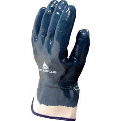 Guanto da lavoro Delta Plus rivestito nitrile manichetta tela 6 cm blu taglia 11 - NI17511