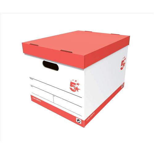 Buy 5 Star Office Storage Box Red U0026 White FSC [Pack 10]   295276    05018206065407   Discount Deals   UK Office Direct Ltd