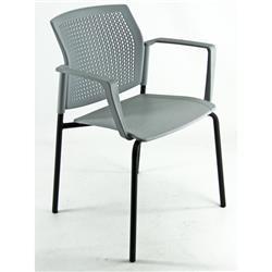 Sedia attesa Kind Unisit - acciaio nero - grigio - conf. 2