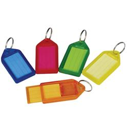 5 Star Facilities Key Hanger Sliding with Fob Label Area 25x20mm Small Tag 45x28mm Assorted [Pack 100]