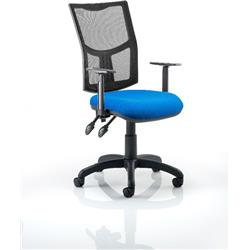 Eclipse II Task Operator Chair With Black Mesh Back Blue Fabric Seat With Height Adjustable Arms Ref KC0172