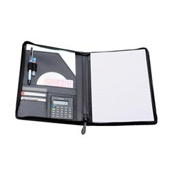 5 Star Elite Zipped Conference Folder with Calculator A4 Leather Look Black