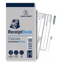 Challenge Triplicate Book Carbonless Receipt 50 Receipts 140x70mm Ref 400048638 [Pack 10]
