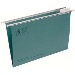 5 Star Office Suspension File with Tabs and Inserts Manilla 15mm V-base 180gsm Foolscap Green Pack 50