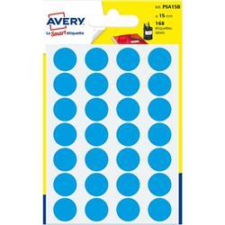 Etichette rotonde in bustina Avery - blu - diam. 15 mm - 24 - PSA15B - conf. 7