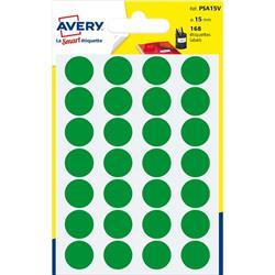 Etichette rotonde in bustina Avery - verde - diam. 15 mm - 24 - PSA15V - conf. 7