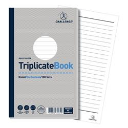 Challenge Triplicate Book Carbonless Ruled 100 Sets 210x130mm Ref 100080445 - Pack 5