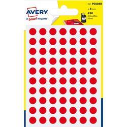 Etichette rotonde in bustina Avery - rosso - diam. 8 mm - 70 - PSA08R - conf. 7
