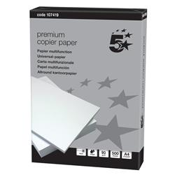 5 Star Elite Copier Paper Smooth Ream-Wrapped 90gsm A4 High White [5 x 500 Sheets]