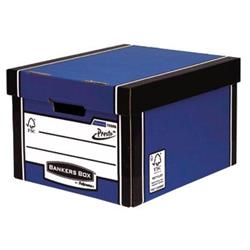 Bankers Box Premium Storage Box Classic FSC Blue and White [Pack 12] [12 for the price of 10] Ref 7250603 - FREE 'Plant a Tree Donation'
