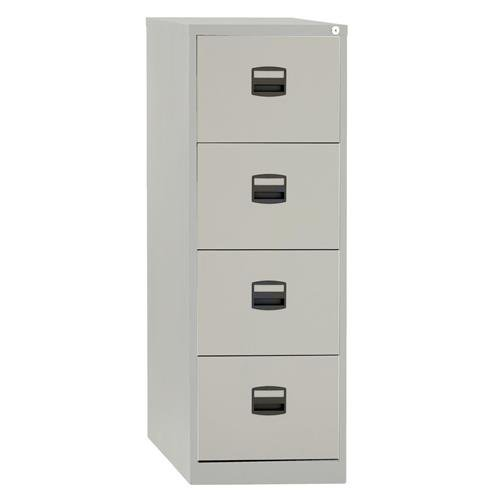 new product f90f2 8404f Trexus by Bisley Contract 4 Drawer Foolscap Lockable Steel Filing Cabinet  Grey Ref 394976