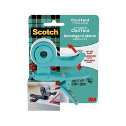 Dispenser per nastri adesivi Scotch® Clip&Twist menta + 1 rotolo Scotch® Magic™
