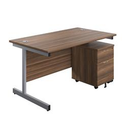 Image of 1200X800 Rectangular Desk Dark Walnut Silver & 2 Drawer Pedestal