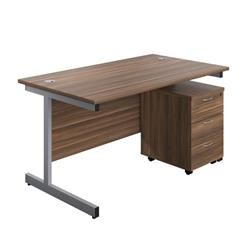 Image of 1200X800 Rectangular Desk Dark Walnut - Silver & 3 Drawer Pedestal