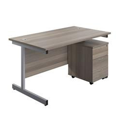 Image of 1200X800 Rectangular Desk Grey Oak - Silver & 3 Drawer Pedestal Bundle