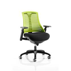 Flex Task Operator Chair Black Frame With Black Fabric Seat Green Back With Arms Ref KC0074