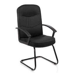 Harley Visitor Cantilever Chair Black Fabric With Arms Ref EX000035