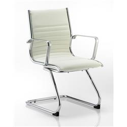 Ritz Visitor Cantilever Chair Ivory Bonded Leather With Arms Ref BR000124
