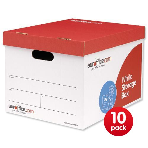 Euroffice Storage Box Red And White W317xD387xH287mm [Pack 10]   ABF023    05018206994479   Euroffice Ltd