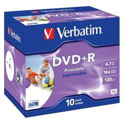 DVD+R Jewel case stampabili Photo Verbatim - 4,7 Gb - 16x -conf.10