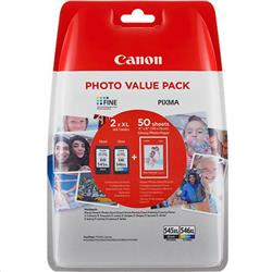 Canon Value Pack 4X6 (50 Sheets of Photo Paper) PG-545XL CL-546XL (Pack of 2 Ink Cartridges)